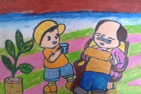 听爷爷讲故事关于重阳节的画画图片