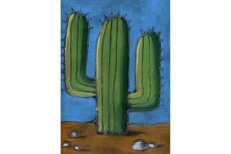 沙漠中的仙人掌植物主题画图片分享