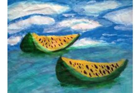 湖面上的西瓜船夏天水粉画图片欣赏