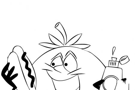 卡通西红柿在吃热狗