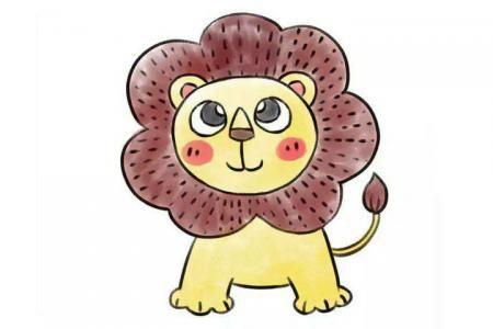 几步画只可爱的小狮子