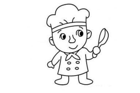 卡通厨师简笔画