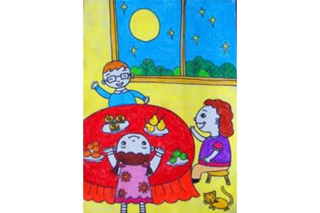 幸福之家中秋节儿童主题绘画