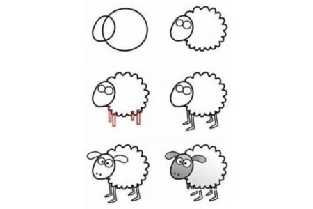卡通小羊简笔画步骤