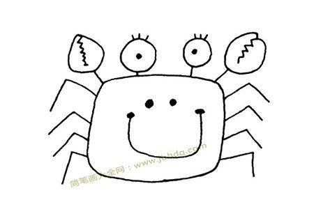 方块螃蟹简笔画图片