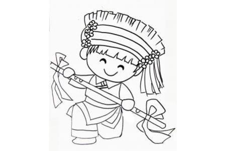 白族小女孩简笔画图片