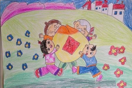祝爷爷奶奶长寿,重阳节敬老爱老儿童画