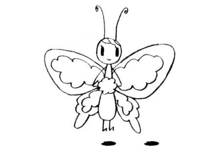 可爱的蝴蝶姑娘简笔画教程