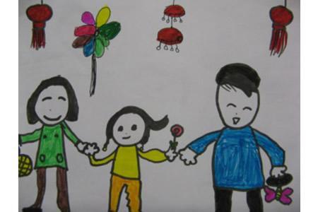 儿童画过新年的图画-和爸爸妈妈去拜年
