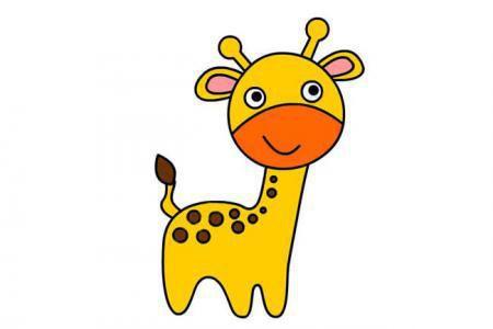 几步画出可爱的卡通长颈鹿简笔画