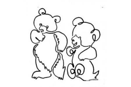 一笔画小熊的画法