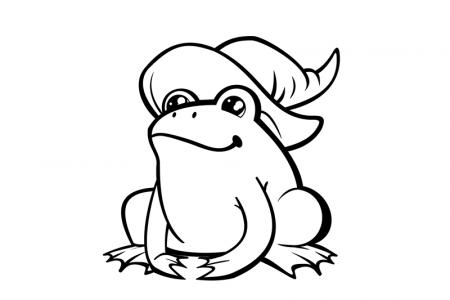 戴女巫帽的青蛙简笔画图片
