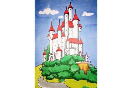 漂亮的城堡简笔画步骤图