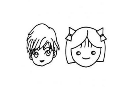 人物头像简笔画素材 小男孩小女孩和妈妈