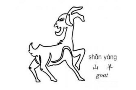 一笔画山羊的画法