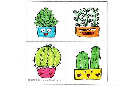 23款仙人掌盆栽的手帐简笔画
