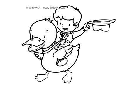 小男孩骑鸭子