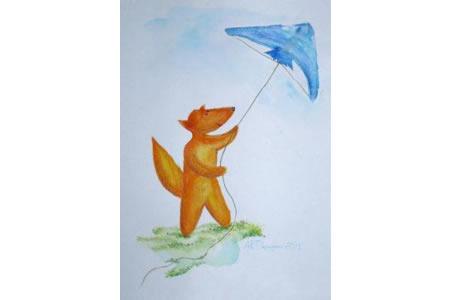 小狐狸放风筝关于天空的水彩画图片欣赏
