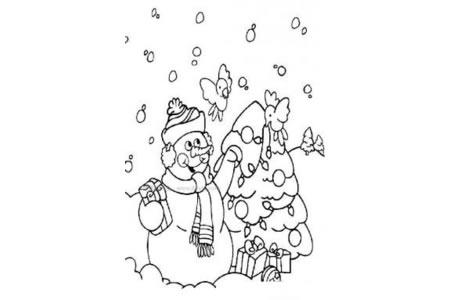 圣诞节的雪人简笔画