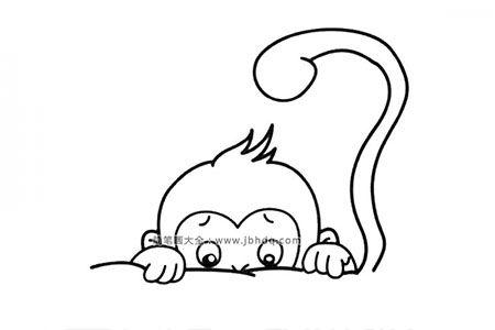 躲在桌子后面的小猴子
