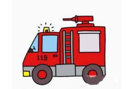 简笔画消防车的画法