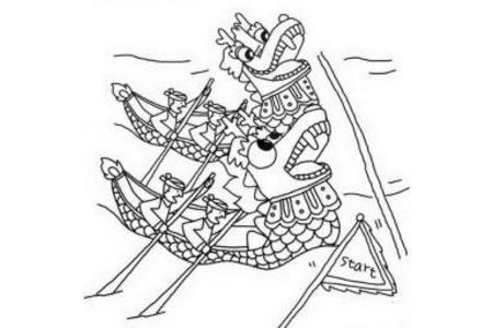 端午节简笔画素材 划龙舟比赛简笔画图片