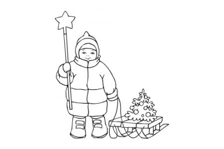 可爱的男孩拿着圣诞星