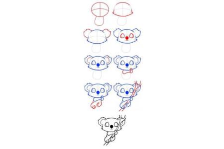 可爱的考拉简笔画步骤图