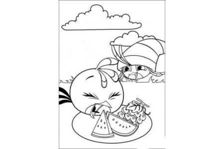 简笔画图片:愤怒的小鸟