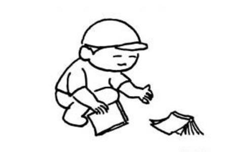 在捡书本的小男孩简笔画