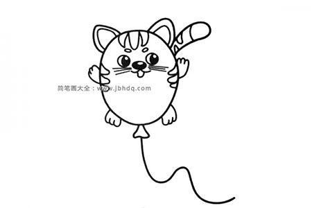 可爱的小猫气球简笔画图片