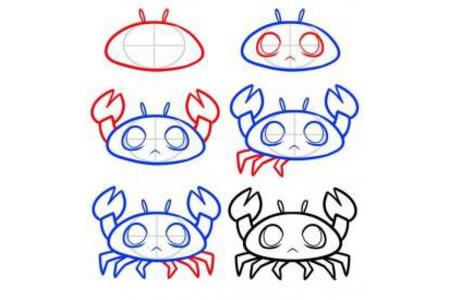 卡通螃蟹简笔画教程