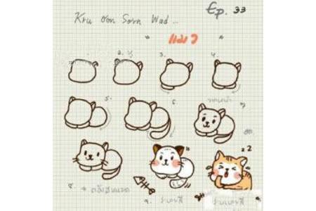 国外小猫简笔画教程