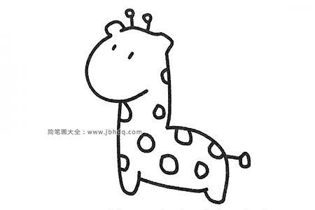 一组可爱的长颈鹿简笔画图片