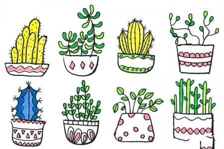 小盆栽植物手绘简笔画