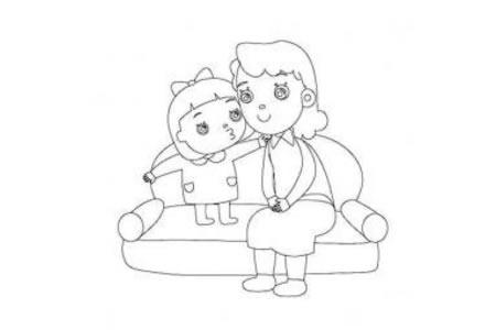 母亲和小孩简笔画
