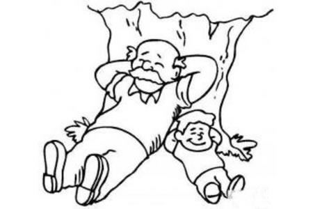 爷爷和我简笔画