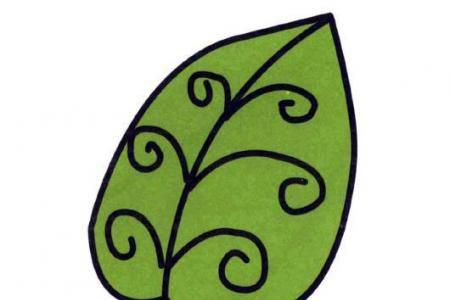 一片树叶的画法