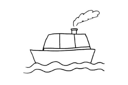 海面航行的轮船简笔画教程