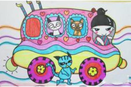 儿童画 运动物小车