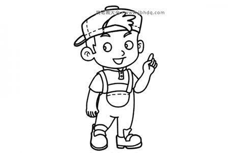 帅气的小男孩简笔画图片