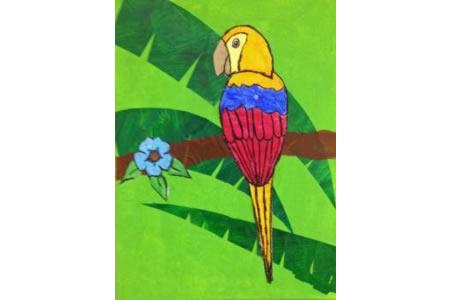 树上的鹦鹉小鸟画画图片大全