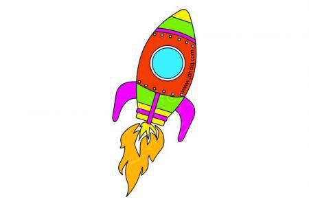 太空火箭简笔画带颜色