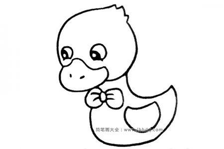 一组可爱的卡通小鸭子简笔画图片