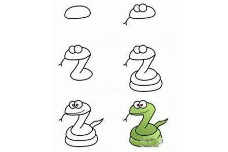 小学生关于蛇的简笔画学习步骤