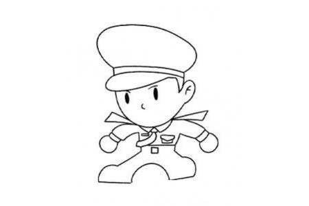 正在执勤的警察简笔画