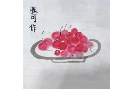 一盘红樱桃大写意国画花鸟