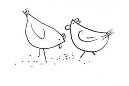 关于母鸡的简笔画画法