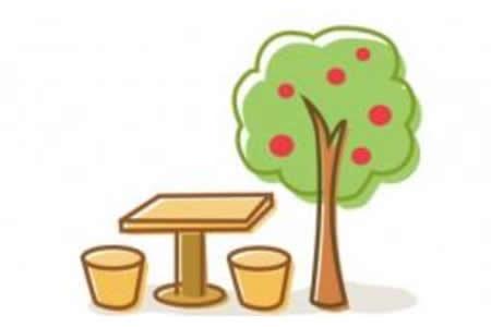 苹果树与石凳的简笔画图片
