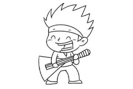 弹吉他的小男孩简笔画图片